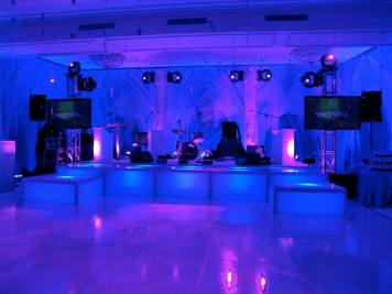stage decks for band, dance floor lighting