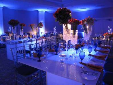 Illuminated white acrylic tables
