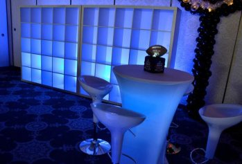 White cubbies with mood lighting