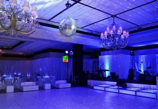 disco ball prop over dance floor with night star lighting