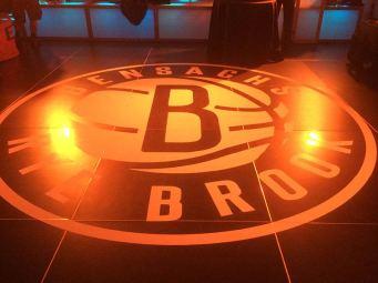 Basketball-Mitzvah-black-portable-dance-floor-and-baketball-logo-sticker