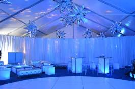 space theme bar mitzvah with circular dance floor silver furniture
