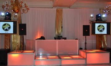 white-and-gold-mitzvah-pipe-and-drape-with-DJ-booth-video-screens-and-LED-stage-decks
