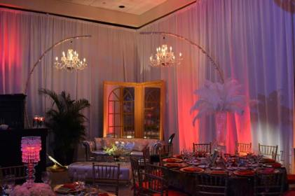 Gatsby-Event-Production-Plumed-Feathers-Hanging-Chandeliers-with-Pipe-and-Drape