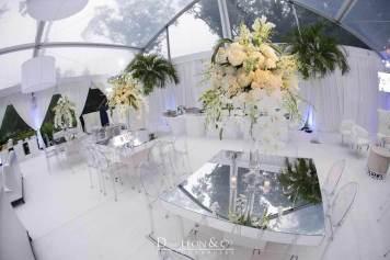 Mirror, silver, and white loung decor
