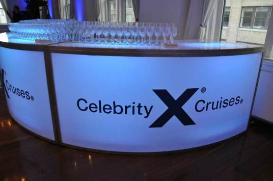 Celebrity-Cruise-Corporate-Event-round-bar-with-logo-sticker