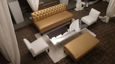 Gold-and-white-lounge-decor-with-sparkle-pillows-and-mirror-table-event-decor