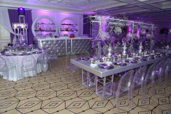 Silver-Parsons-table-with-silver-tufted-bar