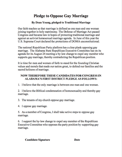 Pledge to Oppose Gay Marriage