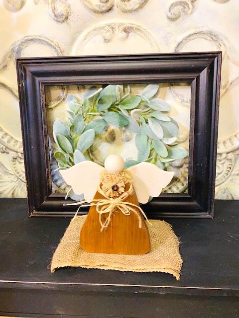 Rustic Brown and Beige Angel with Lace and Burlap.