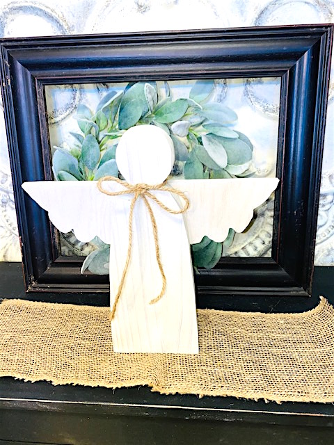White Washed Wooden Garden Angel that stands on its own.