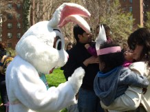 Peter Cooper Cotton Tail meets some young residents