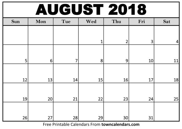 August 2018 Calendar - FREE DOWNLOAD