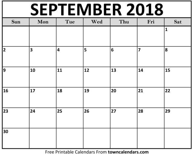 September 2018 Calendar - FREE DOWNLOAD