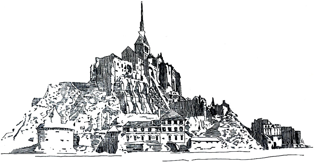 Mont-Saint-Michel - an example of a medieval city that arose on the sea rocky island at the foot of the ancient abbey.