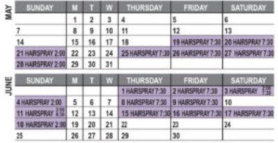 Hairspray Calendar