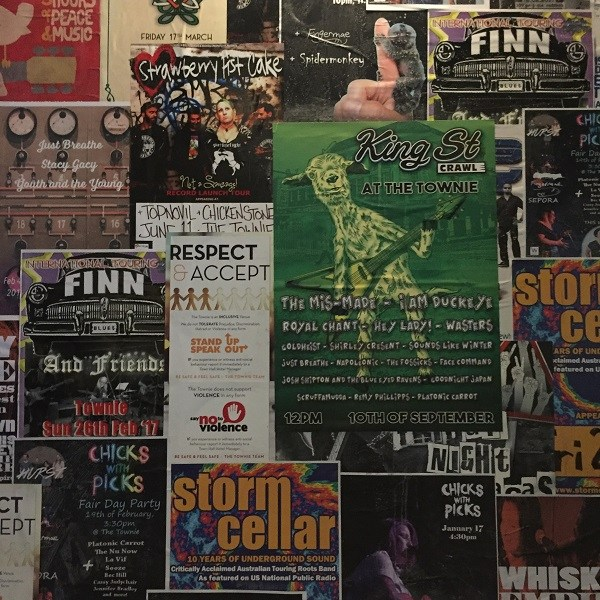 Gig posters on the wall of The Townie