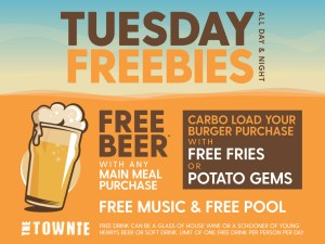 Tuesday Freebies at the Town Hall Hotel Newtown