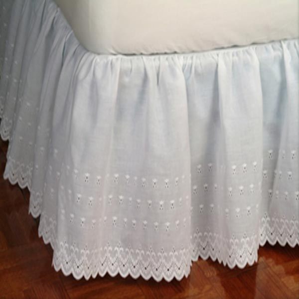 Victorian Eyelet 14 Drop White Dust Ruffle Townhouse Linens