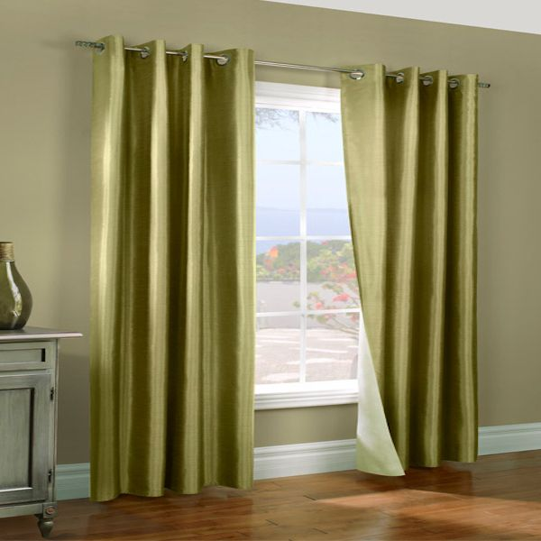 Miller Celadon Green Insulated Thermalogic Faux Silk Reversible Curtain Panel Pair Townhouse
