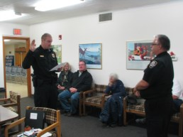 Officer Winckler taking the Oath of Honor