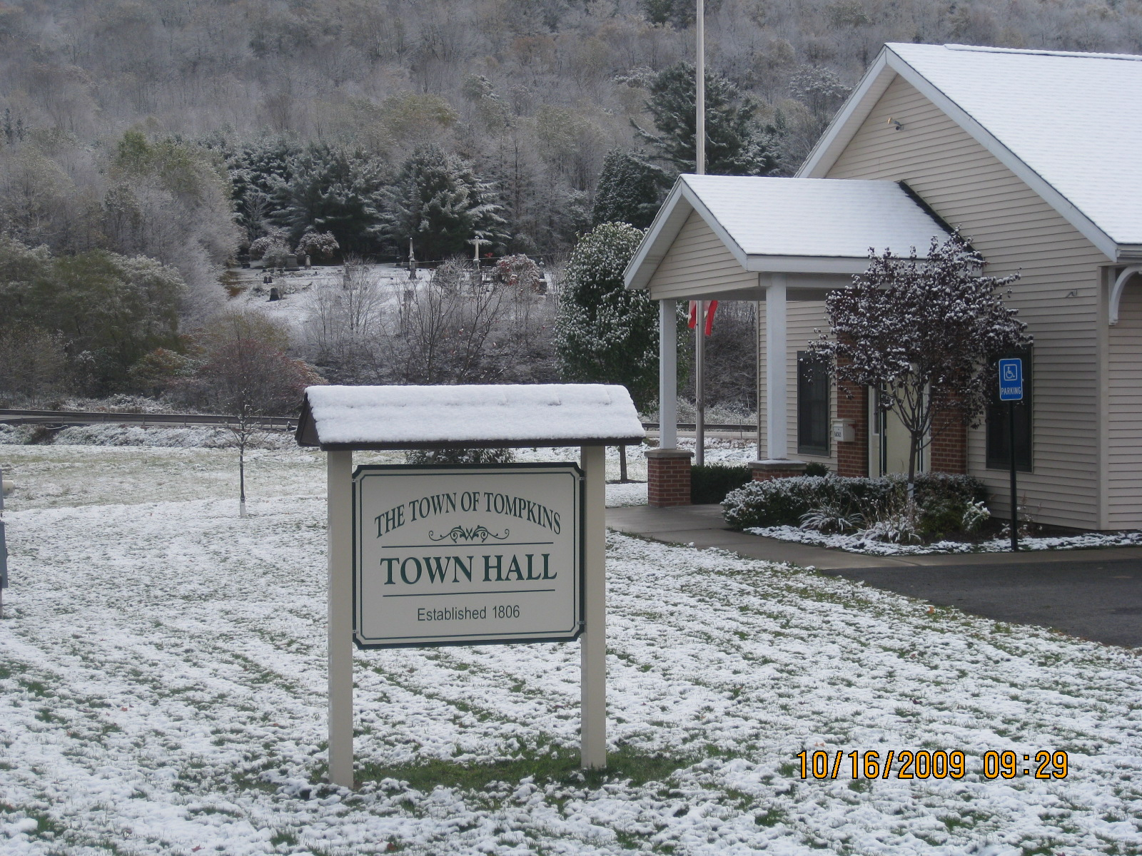Spiffy New Sign at Town Hall