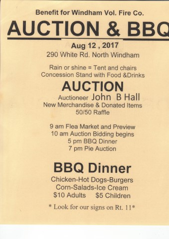 Fire co. sign for BBQ and Auction