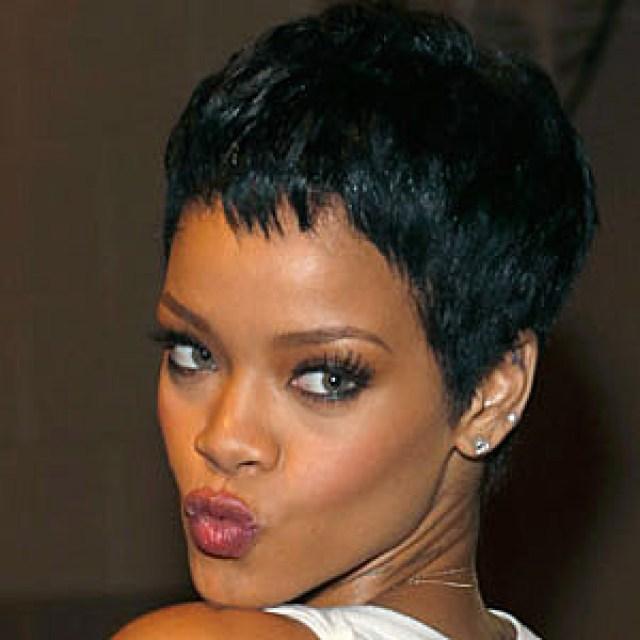 the signature black pixie cut – best rihanna hairstyles
