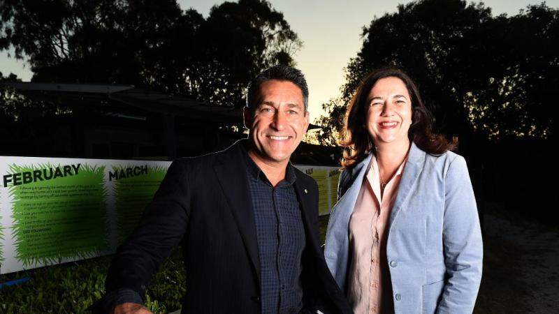 Placemaker specialist and Pure Projects consultant Jamie Durie posing for a  photo with Qld Premier Annastacia