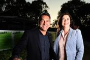 Placemaker specialist and Pure Projects consultant Jamie Durie posing for a photo with Qld Premier Annastacia Palaszczuk in Townsville