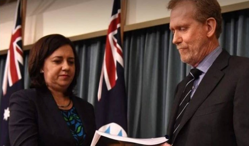 Corruption - Chairman QCCC Mr Alan MacSporran handing down the Operation Belcarra Report to Premier Annastacia Palaszczuk