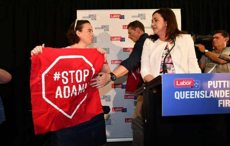 Adani - Stop Adani protester confronts Premier Annastasia Palaszczuk during 2017 Queensland election