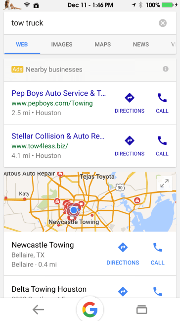 actual google listing