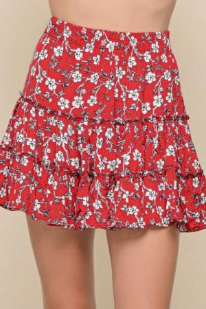Φούστα Κόκκινη Floral