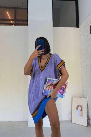 Λιλά Φόρεμα Πλεκτό