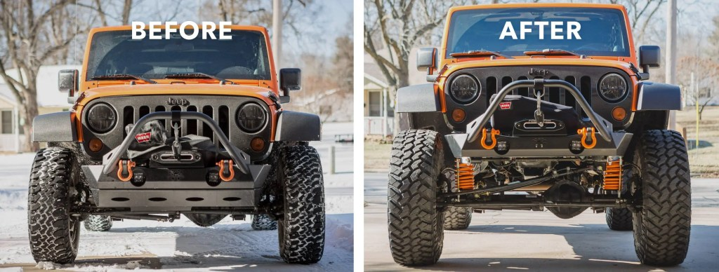 Jeep comparing before and after Currie Enterprises suspension install