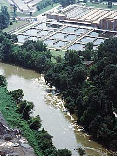 Photograph of a wastewater treatment facility near Atlanta, Georgia.