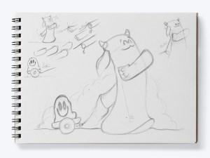 Ilustración Postal Duddu para Cucadas & Macarradas, Bocetos