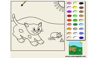 Кошка и мышка: Раскраски для малышей