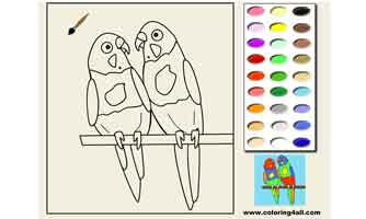 Попугайчики: Раскраски для малышей