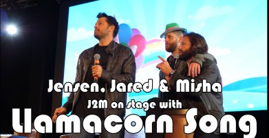 Jensen Ackles, Misha Collins and Jared Padalecki on stage with the llama unicorn song