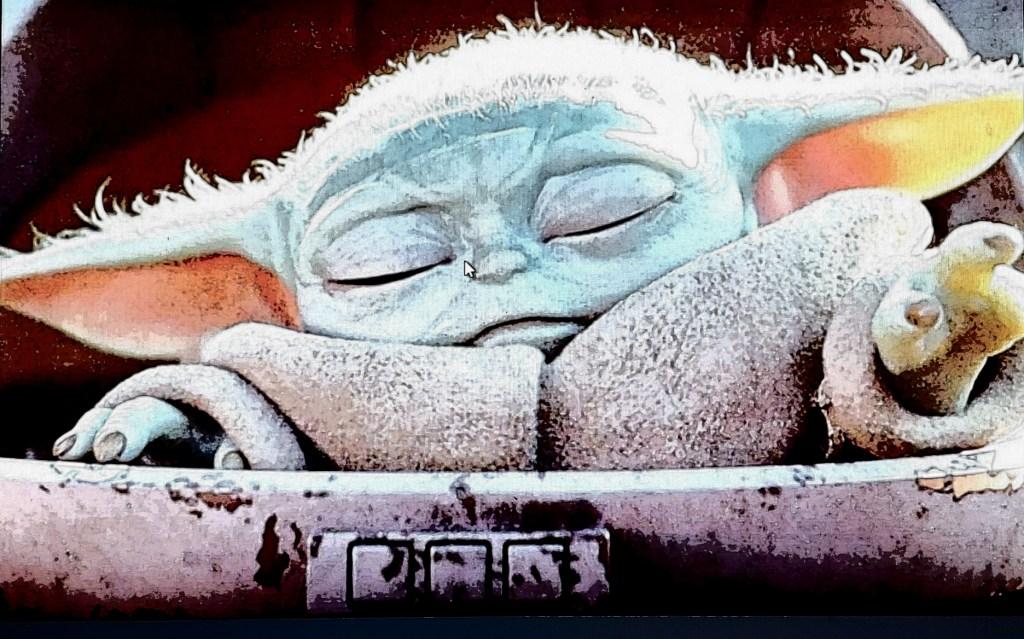 Baby Yoda summoning the force