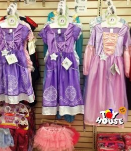 Toy House and Baby Too, dress-up clothes, dresses, toy store