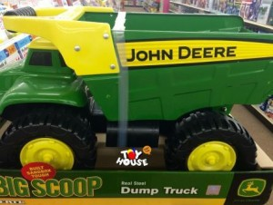 Toy House and Baby Too, John Deere, dump truck, Tonka,