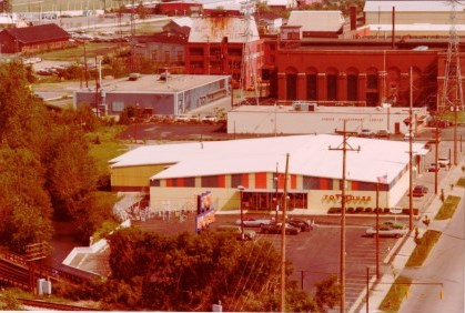 Toy House, Jackson, Michigan, aerial view, toy store, 1977