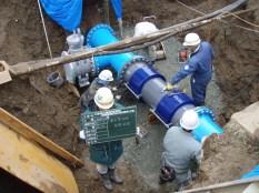 岩手県奥州市上島浄水場/埋設部ベローズ型可撓管