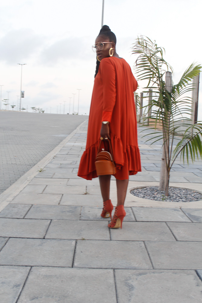 heineken lagos fashion and design week 2017 , styling burnt orange ,how to wear monochrome ,burnt orange dress