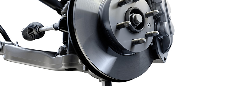 Image of the rotor on the wheel mount of the 2017 GMC Canyon small pickup truck.