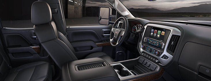 Interior photo of the capable and refined 2017 Sierra 3500HD heavy-duty pickup truck.