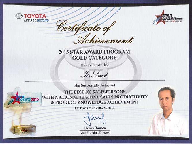 "Sertificate of Achievement ""Toyota Star Award"""